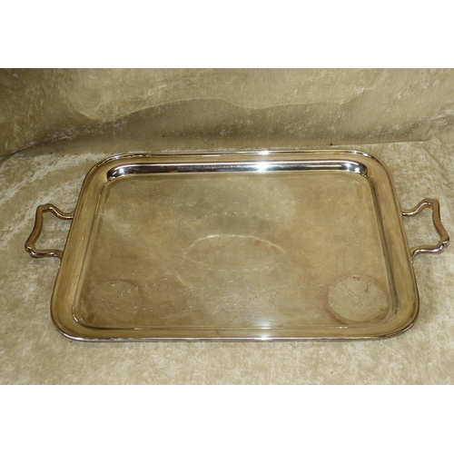 406 - A Silver Plated Mappin & Webb 2-Handled Rectangular Tray having engraved centre with vase, swag, rib...