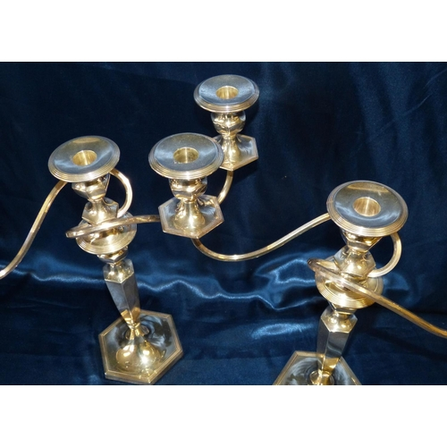 420 - A Pair of George V 2-Light 3 Branch Candelabras on turned hexagonal stems and bases, London 1932 mak...