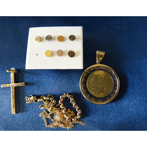 429 - A 9ct Gold Cross Pendant, a small quantity of part gold chains, 7 studs and a 9ct gold pendant set w...