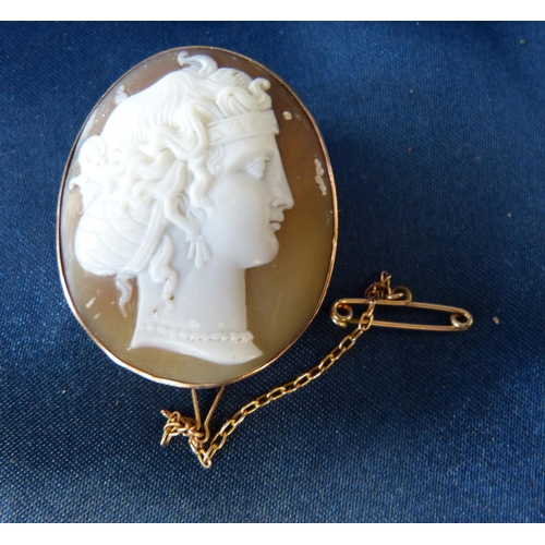 439 - An Oval Cameo Shoulder Length Portrait of a Lady in gold pendant frame...