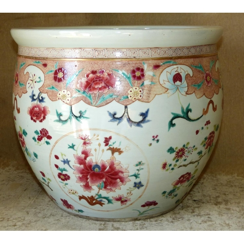 44 - A 19th Century Chinese Bulbous Jardinière having coloured floral, leaf and scroll decoration, 31cm h...
