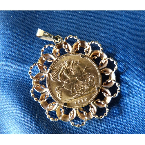 441 - A George V Gold Half Sovereign, 1913 and in 9ct gold removable pendant, 6gms gross...