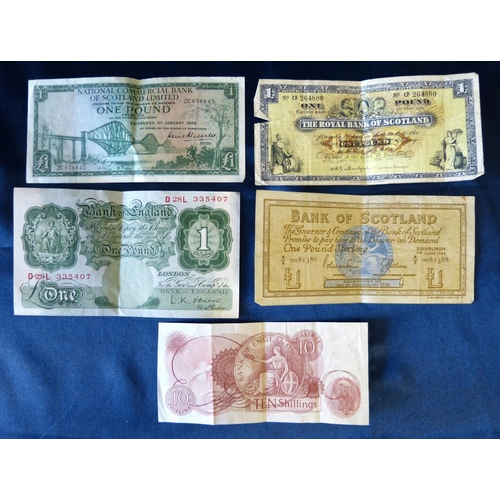 446 - A 10 Schilling Note, an English £1 Note and 3 x Scottish £1notes...