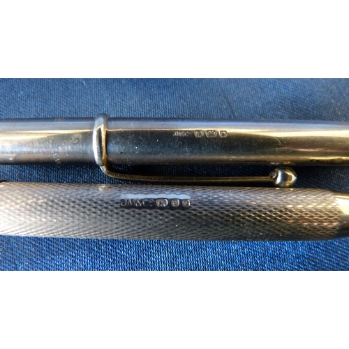 451 - A Silver Yard-0-Lead Propelling Pencil having engine turned decoration, maker JM&Co, also another Lo...