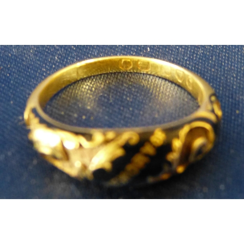 453 - A 19th Century 18ct Gold and Black Enamelled Mourning Ring