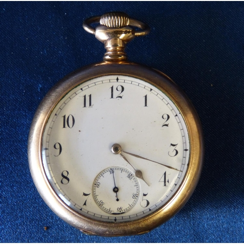 456 - A Waltham Gold Plated Open Face Pocket Watch having white enamel dial with seconds dial and Arabic n...