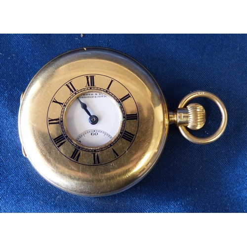 458 - An 18ct Gold Turner & Sons Half Hunter Pocket Watch having white enamel dial with seconds dial and R...