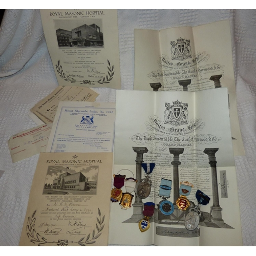 459 - 2 Silver Masonic Medals and 5 other Masonic medals with various paperwork...