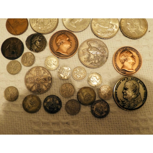 460 - A 19th Century Victorian Crown and a small quantity of various other later coins etc...