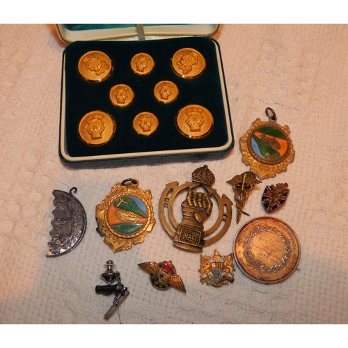 461 - A Silver Agricultural Medal, an RAC Badge and a quantity of various other badges, buttons etc...
