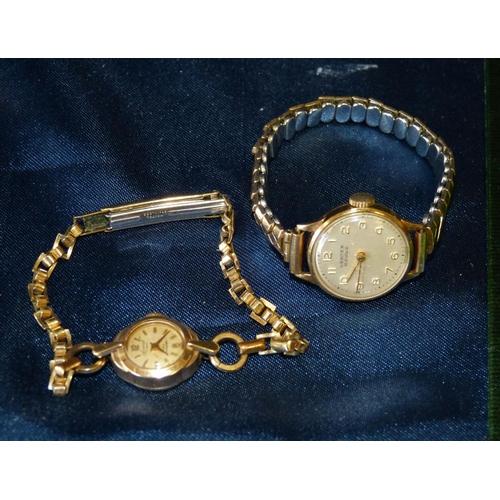 476 - An Accurist 9ct Gold Ladies West Watch having strap bracelet and another Vertex ladies revue wrist w...