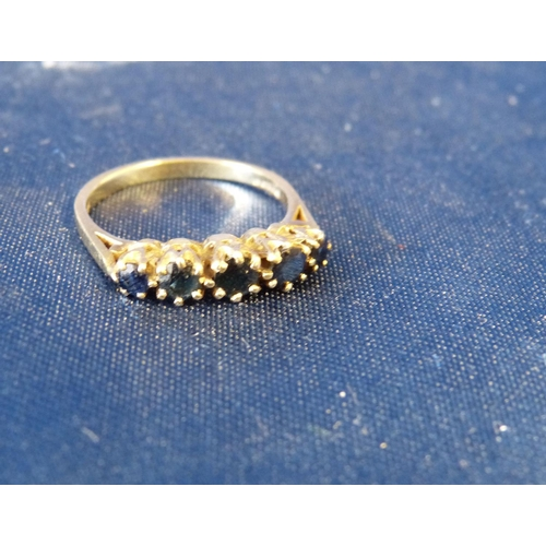 490 - A 9ct Gold Ladies Sapphire 5 Stone Ring, size L/M...