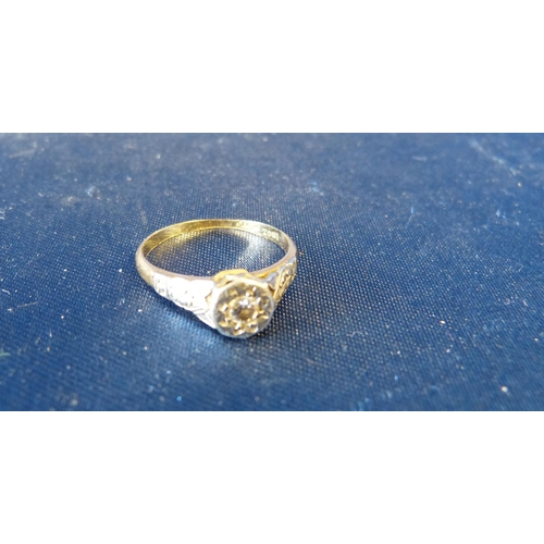 495 - An 18ct Gold Small Ladies Solitaire Diamond Ring, size M/N...