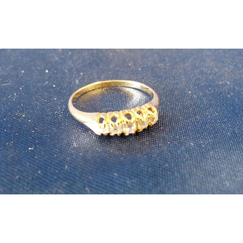 497 - An 18ct Gold Ladies Small 5 Stone Diamond Ring, size N...