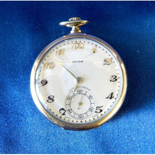 502 - An Eros Gold Plated Open Faced Dress Pocket Watch with seconds dial and Arabic numerals...