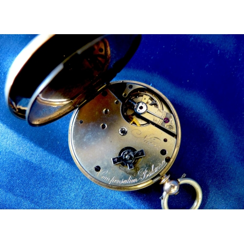 503 - A 14ct Gold Open Faced Pocket Watch having white enamel dial with seconds dial and Roman numerals (d...
