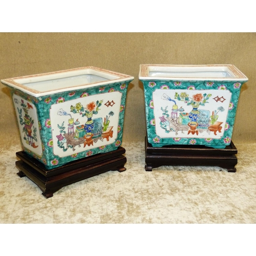 51 - A Pair of 20th Century Oriental Rectangular Jardinière's on white and green ground with multicoloure...