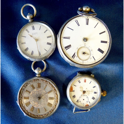 527 - A Silver Muret Fob Watch and 3 other silver watches (in need of restoration) (4)...
