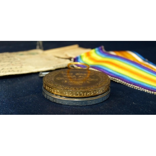 532 - 2 WWI Medals, 1914/18 Medal and War Medal, 416670 pte.G.C.Challice. Labour Corps with ribbon...