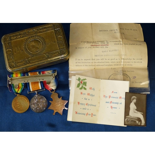 533 - WWI Bar 3 Medals, 1914/18 Medal, War Medal 1914 Star with bar (5th Aug-22nd November 1914) L-8510 Cp...