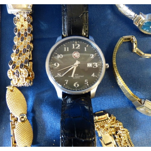537 - A Modern MG Wrist Watch having leather strap, also a MuDu gentlemen's wrist watch and 7 various othe...