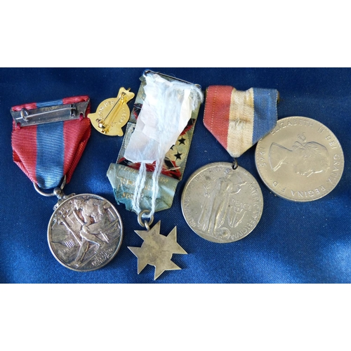 539 - An Imperial Service Medal boxed, an Orpington church school medal, a peace medal and an armed forces...