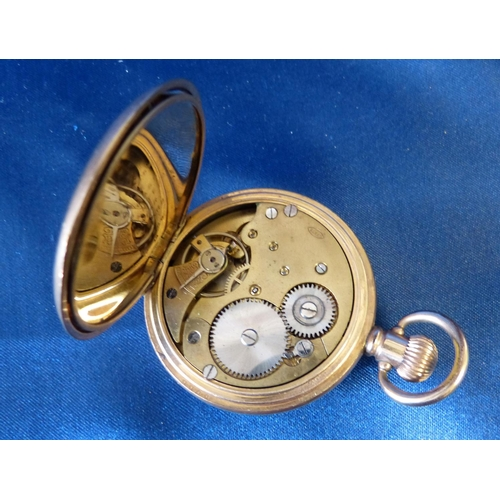 540 - A Buren Gold Plated Half Hunter Pocket Watch having white enamel dial with seconds dial and Roman nu...