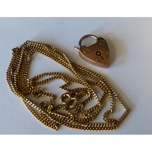 548 - A 9ct Gold Thin Chain, also a 9ct gold padlock clasp 6.2gms...