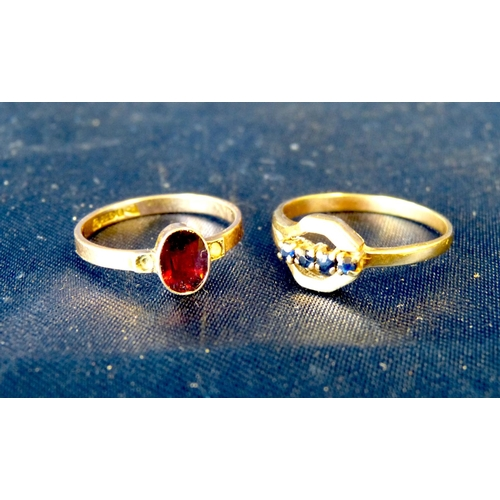 565 - A Gold Ladies Ring set with 4 small blue stones, also another ladies 9ct gold ring set with garnet f...