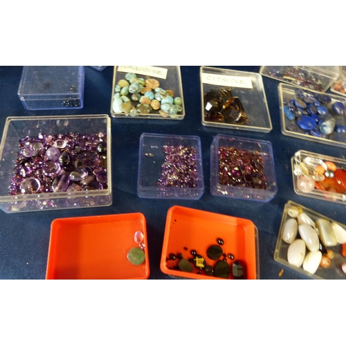 571 - A Large Quantity of Various Loose gemstones including citrine, lapis lazuli, garnets, amethyst etc...