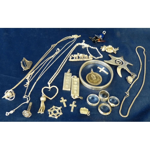 576 - A Silver Bangle and a quantity of various silver rings, pendants, brooches, chains etc...