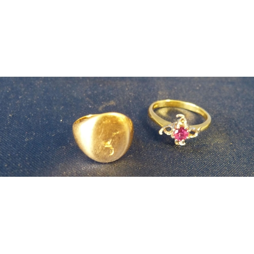 582 - An 18ct Gold Ladies Ring set with centre pink stone, also an 18ct gold signet ring, 9.3gms gross...