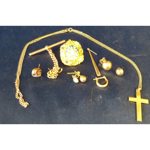583 - A High Carat Gold Button set with Turquoise, also a quantity of various odd gold items etc, 23.7gms ...