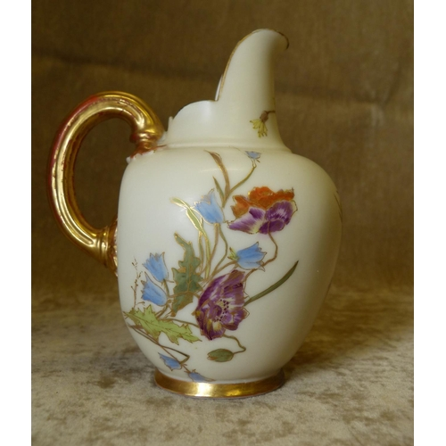 6 - A Royal Worcester Bulbous Shape Blush Jug having reeded handle with multicoloured floral and leaf de...