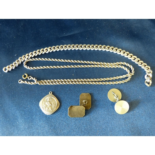 600 - A Silver Flat Linked Bracelet (no clasp) a silver twist chain, 2 odd silver cufflink's and a silver ...