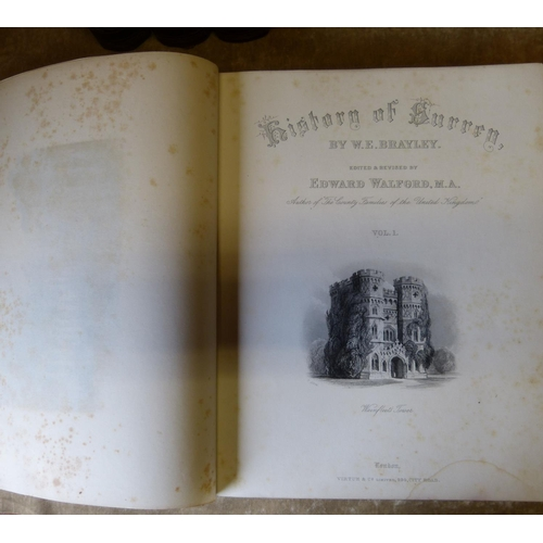 605 - 4 Volumes History of Surrey by Brayley & Walford with illustrations...