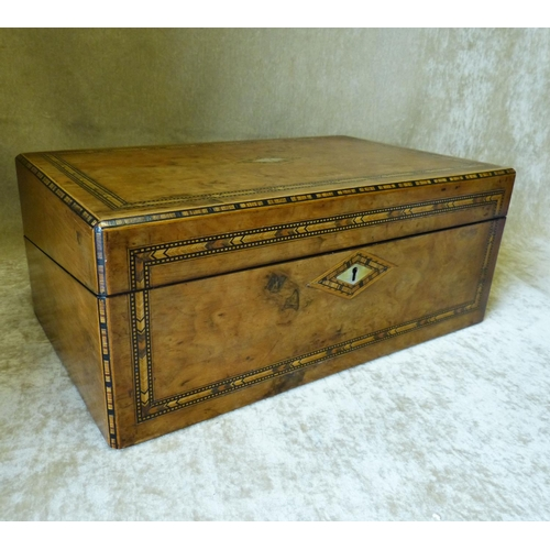 606 - A 19th Century Burr Walnut Rectangular Writing Box having parquetry inlaid banding and boxing, hinge...