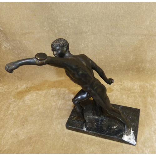 608 - A Spelter Figure of an Athlete on black onyx base, 25cm high...
