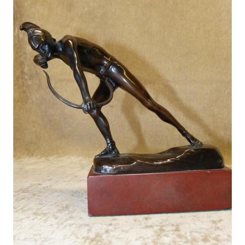 610 - Otto Schmidt-Hofer Bronze Figure of an Archer on rectangular shape stone base, 18cm high...