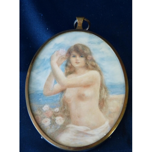 613 - G Owen Oval Miniature half length portrait of a female nude in beech scene, signed in gilt frame, 9c...