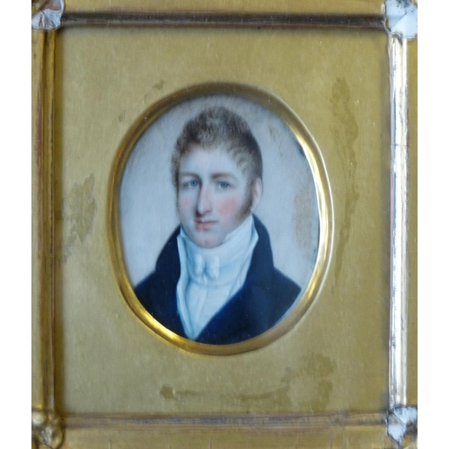 615 - A 19th Century Oval Miniature Shoulder Length Portrait of a young gentleman in gilt frame...