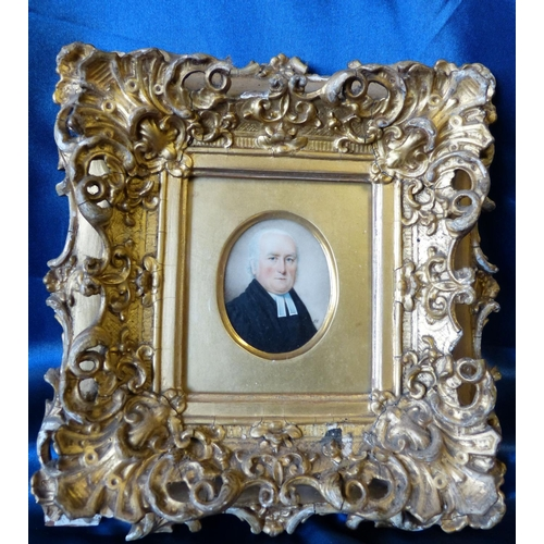 616 - JH 19Th Century Oval Miniature Shoulder Length Portrait of a gentleman, initialled JH in gilt frame,...