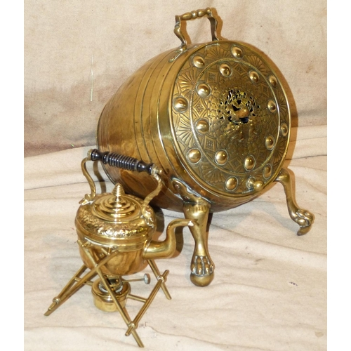 617 - A Brass Barrel Shape Coal Bucket having hammered and pierced hinged front on splayed claw and ball f...