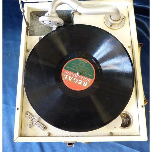 619 - A Decca Gramophone having multicoloured nursery rhyme decoration, 36cm wide...