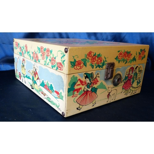 619 - A Decca Gramophone having multicoloured nursery rhyme decoration, 36cm wide...