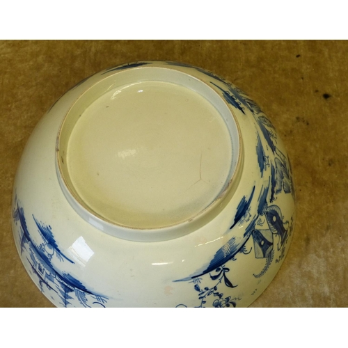 63 - An 18th Century English China Fruit Bowl on blue and white ground having oriental figure, fence and ...