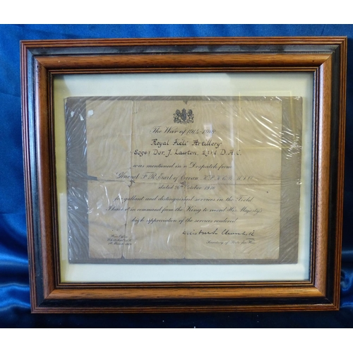 630 - William Churchill Signed WWI Dispatch Letter, framed, 18.5cm x 22.5cm...