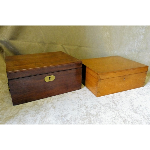 632 - A 19th Century Mahogany Rectangular  Writing Box with carrying handle with secret drawer to side, hi...