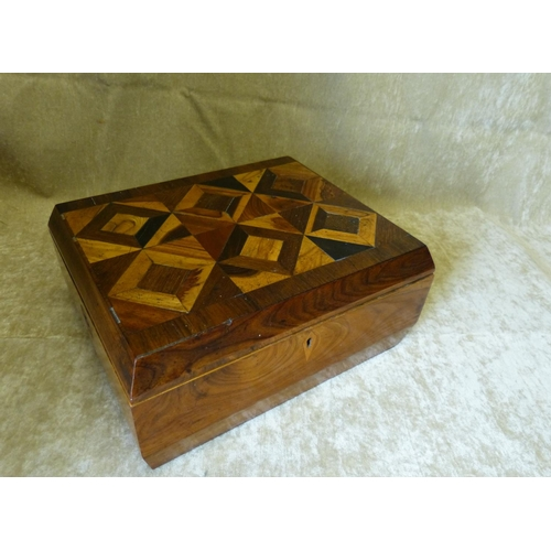 633 - A 19th Century Walnut and Marquetry Rectangular Box having parquetry hinged lid (interior a/f) 29cm ...