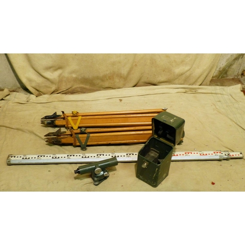 635 - A Hilger and Watts Autoset Level Theodolite, boxed, also 2 folding tripods and a surveyors measure (...